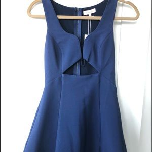 Cute and sexy blue mini dress with cut out